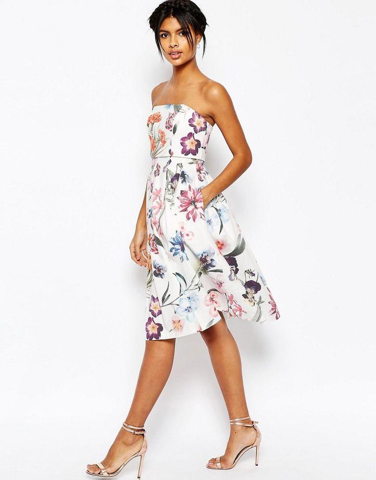Immagine 4 di ASOS - Vestito midi da cerimonia con top corto a fascia e stampa a fiori grandi