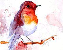 Suluboya resim, suluboya kuş boyama, kuş sanat, hayvan illüstrasyon, kuş BASKI 6x8 inç.  15x21 cm.
