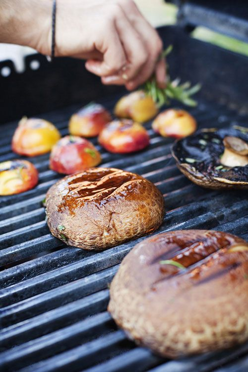 Mmmm... portobello burgers with grilled peaches!? Yum! UPDATE: Made these last weekend and let me tell you... they were amazing!!