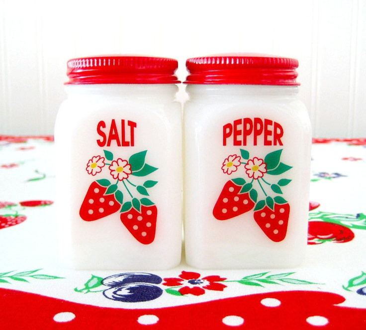 Vintage Milk Glass 'Red Dot Strawberries' Salt Pepper Set Restored Jars. $20.00, via Etsy.