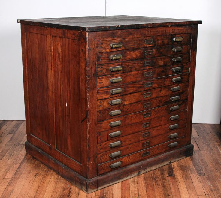 Antique Oak Printer's Flat File Cabinet