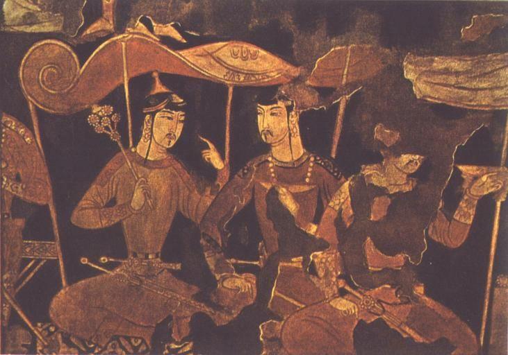 Dehkans Sitting at a Libation, Piandjikent - Soghdian Murals at Piandjikent