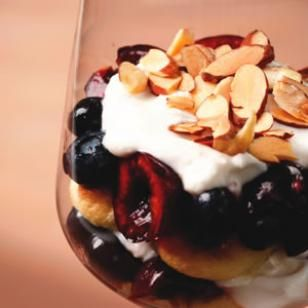 Delicious Individual Cherry-Blueberry Trifles with Greek yogurt & toasted sliced almonds via EatingWell.com. Perfect for the start of cherry season!