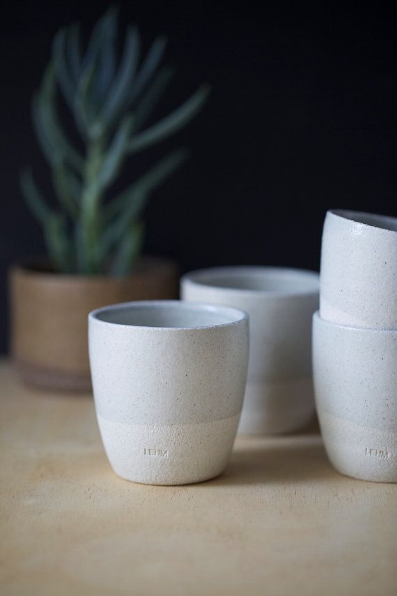 Ceramic Pottery cups (x4) or mugs for tea or coffee, handmade from white raku with light grey gloss glaze. Contemporary. Wedding gift