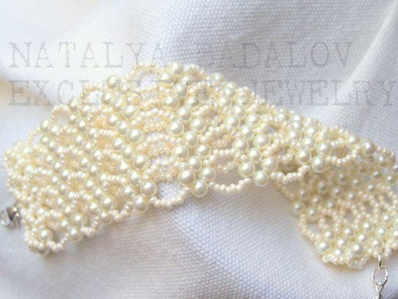 Beadwork Bridal  Ivory cream glass pearl beadwoven  by Sunny1167, €19.99