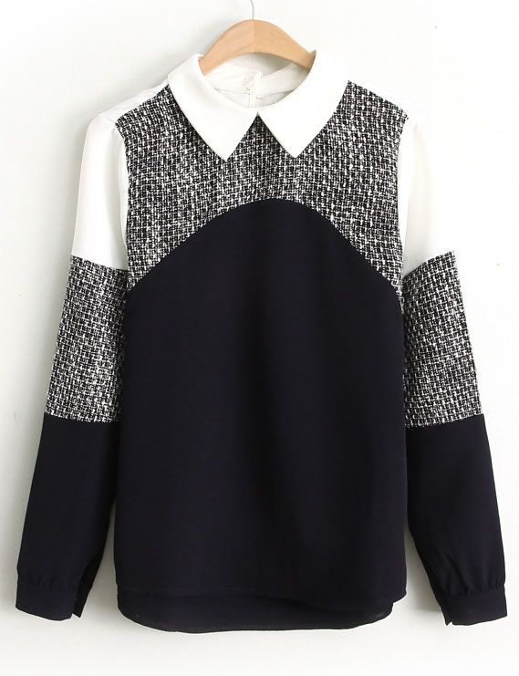 Black Contrast White Long Sleeve Lapel Blouse - Sheinside.com