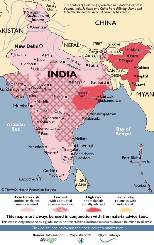 India Malaria Map - Fit For Travel