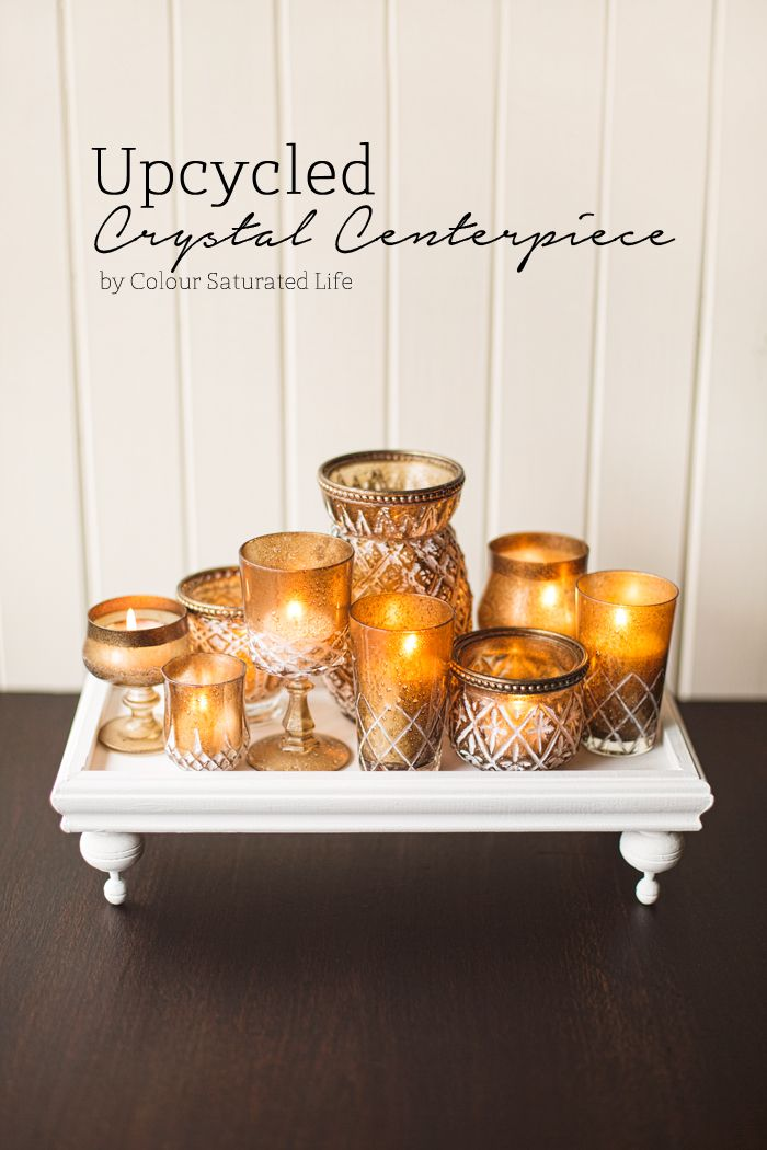It is the ordinary things you can find in a thrift store that can be upcycled to create high end looking decor for your home like this crystal centerpiece.