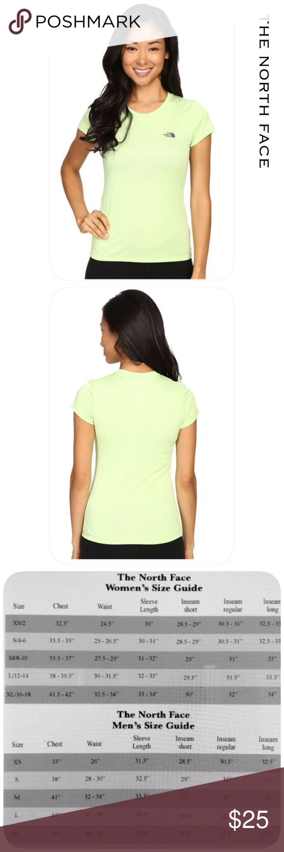 🆕 The North Face Top Vapor wick fabric. Wicks sweat and keeps you comfortable. 24 inches in length and 100% polyester. Straight hem with pop color logo and a crew neckline. Machine wash cold and tumble dry hot. Lime green in color💙. I'm sorry but I don't trade. The North Face Tops