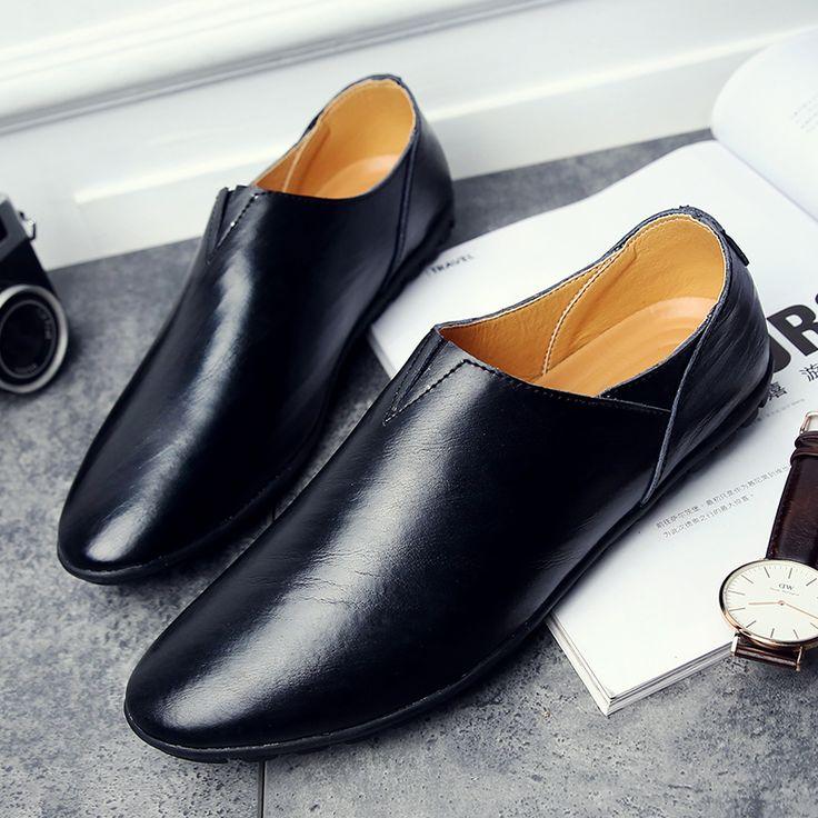 US $24 Urban Men Leather Slippers Handmade Men Dress Shoes Comfortable Soft Driving Business Slipper Black Yellow White