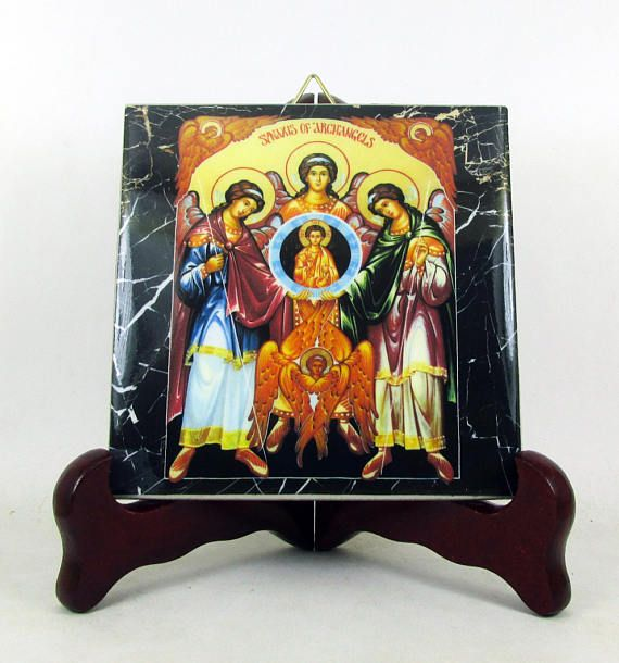 #Sinaxis of #Archangels #christian icon on tile #handmade in Italy. Now available on #Etsy #religious gifts >>> https://www.etsy.com/listing/511233002 <<<  #christianity #stmichael #straphael #stgabriel