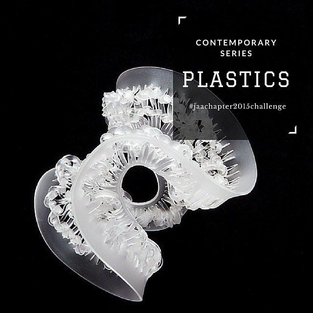#contemporaryseries  Plastics Thermosetting plastics such as cellophane, bakelite, rayon and nylon and thermoplastics such as acrylic add a fluidity of form, weightlessness and spectrum of colour to jewellery not as easily achieved with other materials.  #plastics #jeweller #jewellery #ring #bracelet #bangle #necklace #chain #pendant #earrings #brooch #acrylic #jaachapter2015challenge #page336of365  Image: Cai-Xuan Wu, 'Transit: knitting wave', acrylic