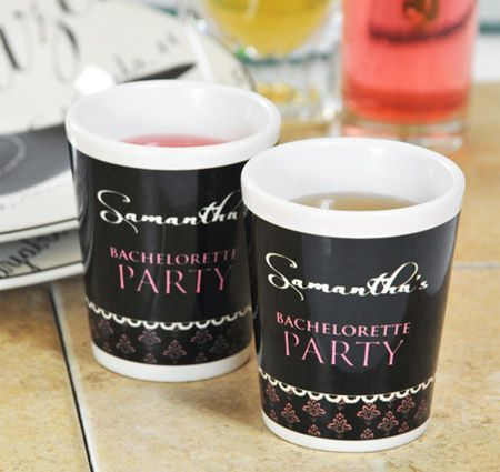 Damask Party Shot Glasses | Bachelorette Shot Glasses