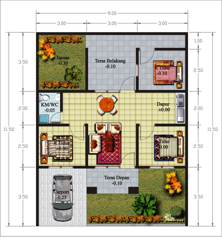 Denah Rumah Minimalis Cantik dan Menarik