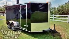 NEW 2017 7 x 16 7x16 V-Nosed Enclosed Cargo Motorcycle Trailer Ramp & Side Doorheavy equipment trailers apply now www.bncfin.com/apply