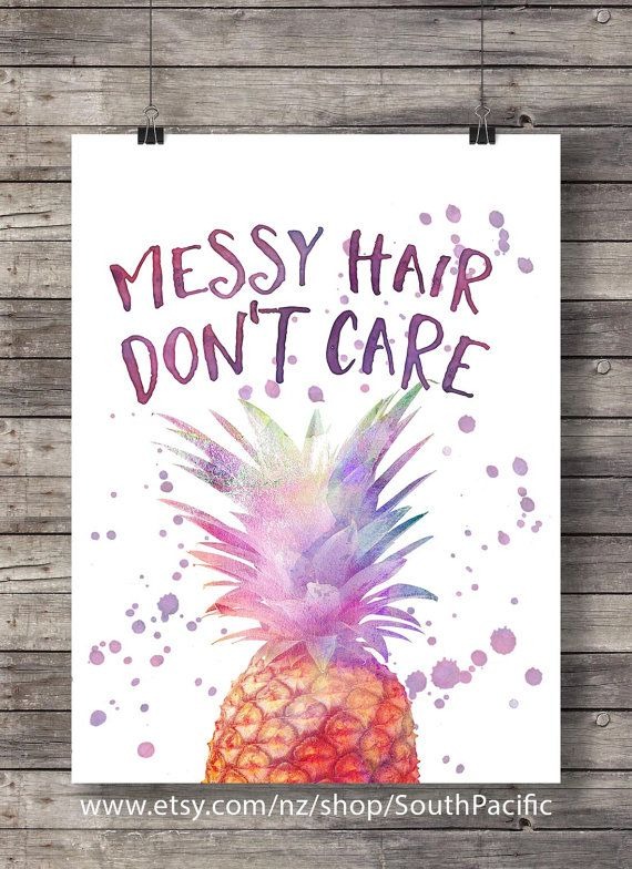 Messy hair - DONT CARE!! | Pineapple kids room decor |Waterolor wall art…