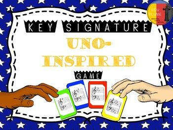Reinforce key signatures with this version of the traditional UNO game!   This game is played just like regular Uno, and comes complete with wild cards, reverse cards, and skip your turn cards.   Game comes with 152 cards. Customize your game and include the key signatures you are studying. Includes both major/minor keys. Just print, laminate, and cut for hours of learning fun. This game can be played with two to four players.