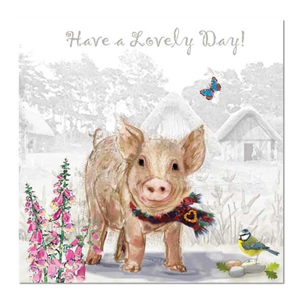 Pig Greeting Card: Have a Lovely Day!, Unique Greeting Cards, Quality Birthday Cards and Luxury Christmas Cards by Paradis Terrestre