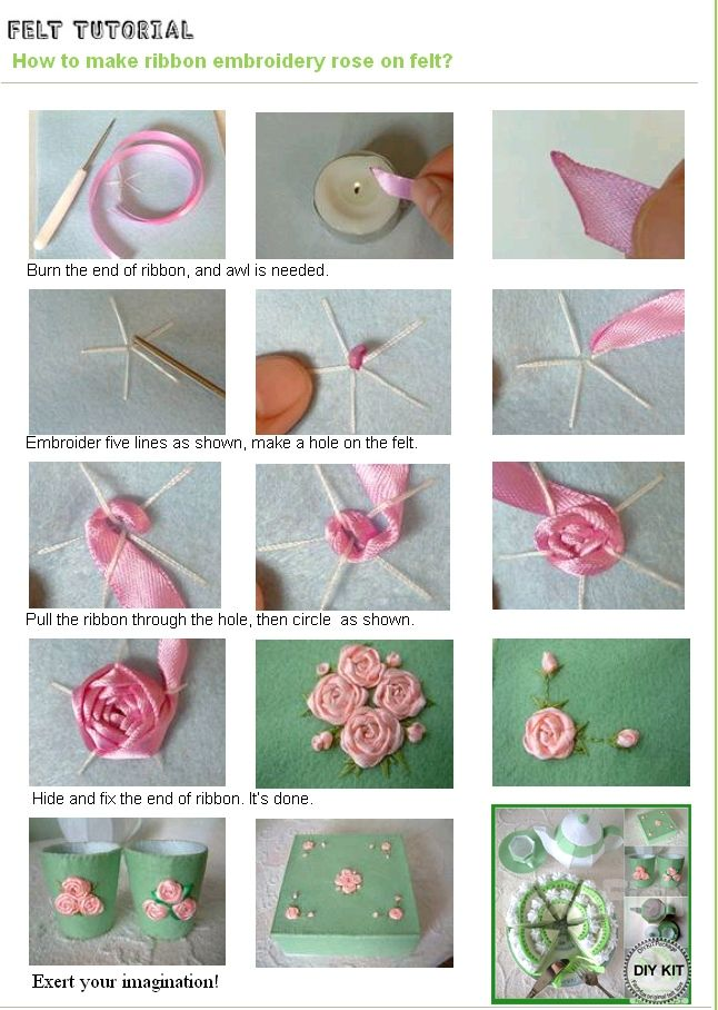 102 best flores de fita images on pinterest fabric flowers ribbon tutorial make ribbon roses on felt mightylinksfo
