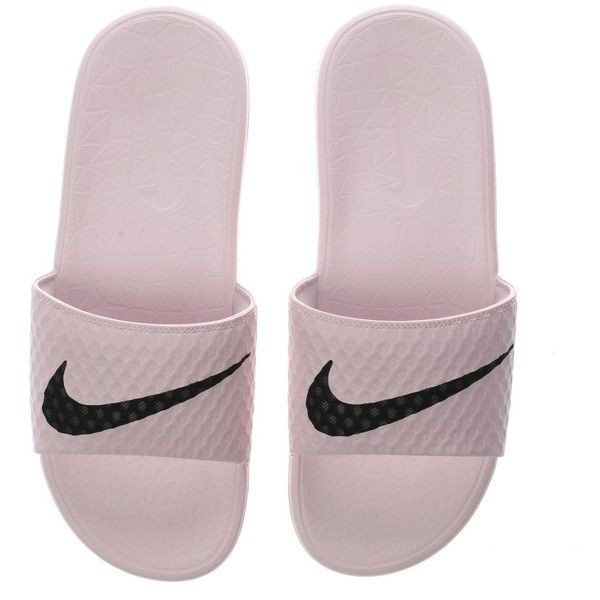 Womens Pale Pink Nike Benassi Pool Slide Sandals | schuh ❤ liked on Polyvore featuring shoes, sandals, nike, slide sandals, pale pink sandals, pale pink shoes and nike sandals