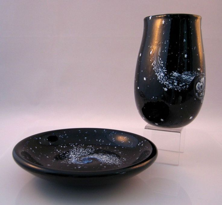 Robert Held Starry Night Galaxy Series Small Flat Crucible Vase and Small Plate #RobertHeld