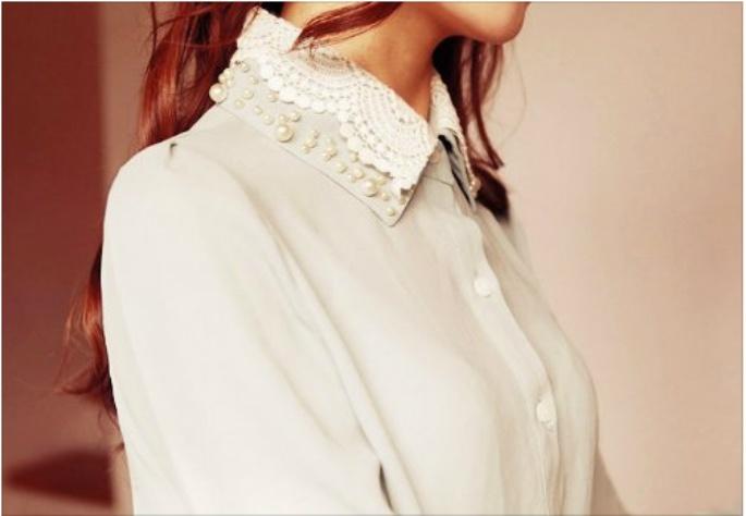 Camisa: Collars Details, Female Fashion, Fashion Diy, Bejewel Collars, Fashion Frenzi, Fashion Lurv, Details Collars, People Style, Collars Shirts