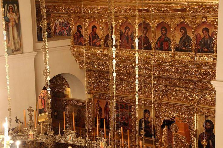 With the blessing of Archimandrite Ephraim, modeled on the iconostasis of the Vatopedi Monastery on Mount Athos