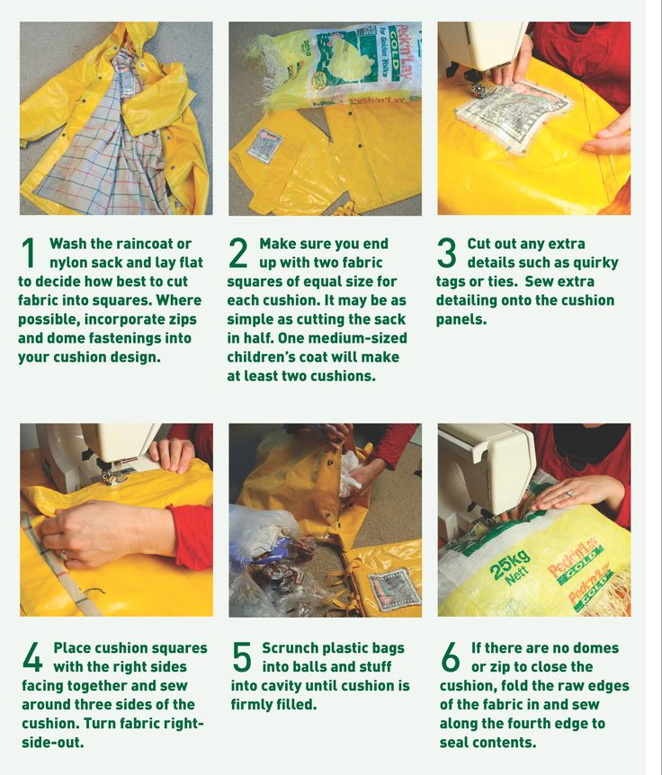 How to make a waterproof cushion from an old raincoat ... A simple but clever upcycling project. Perfect for use on your deck or in the garden. Craft Susan Elijas, photography Sarah Heeringa. Originally published in Good magazine www.good.net.nz