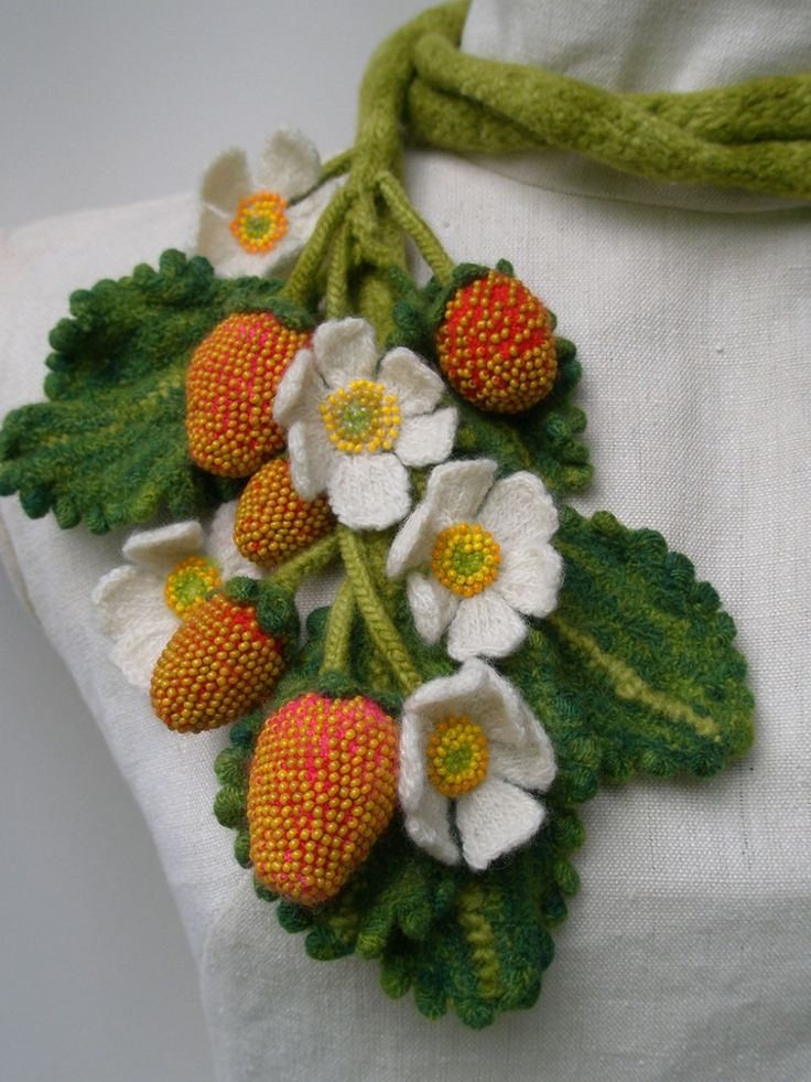 Stawberry Plant, Garden Scarf.  Glass beads, wool, crocheted, knitted, fulled.by Karen Paust
