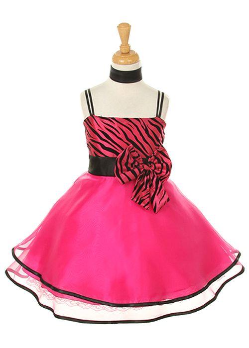 Fushia Zebra Print Contrast Girl Dress
