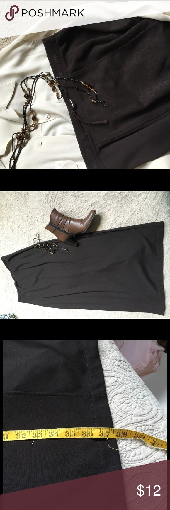 """Emma James for Liz Claiborne brown maxi Comfortable knit dark brown maxi that looks great with boots or heels. Built in """"belt,"""" flattering seaming on front and kick pleat in back. One small area where the stitching looks missed, see photo. Good condition. Emma James Skirts Maxi"""