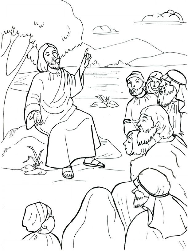 jesus preaching coloring page sermont on the mount coloring pages - Coloring Pages Jesus
