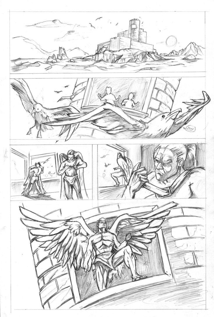 Icarus and Daedalus Page 1 Pencils by justinprokowich