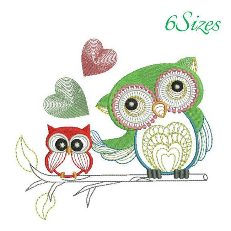 Owl heart machine embroidery design bird instant digital designs download pattern girl designs kids hoop file towel animal by SvgEmbroideryDesign on Etsy