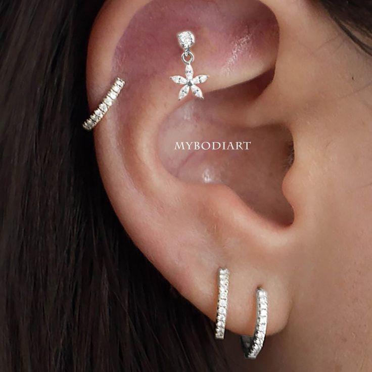 Lily Crystal Flower Star Cross Heart Dangle Ear Piercing Stud in Gold
