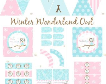 Winter Owl Party Decorations, Horse Birthday Decorations Owl Baby Shower Decorations INSTANT DOWNLOAD banner tags cupcake toppers ONEderland