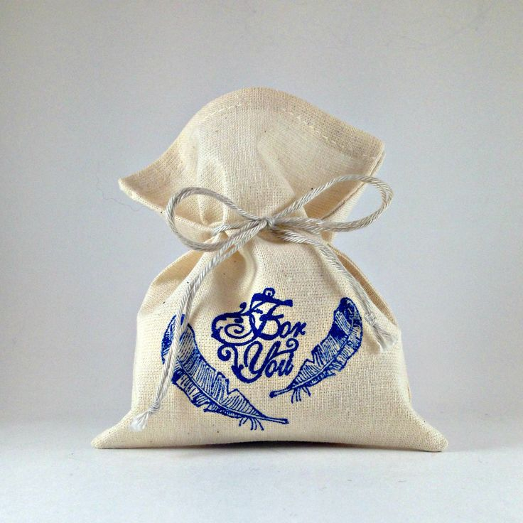 "Handmade Unique Cotton Sack Jewelry Gift Feathers Bright Bags Pouch Welcom Favor Wedding Blue 4x5"" Handstamped Beige by…"