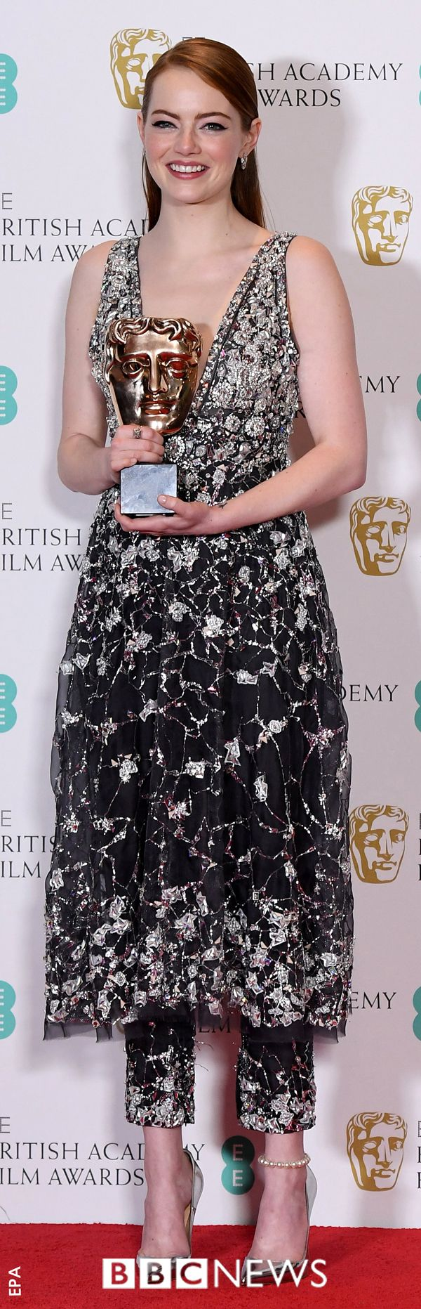 Emma Stone holds her Bafta award that she received for best leading actress for her role as Mia in La La Land. She beat Amy Adams, Emily Blunt, Natalie Portman and Meryl Steep to get the award.