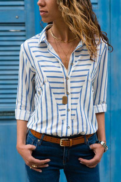 Kadın Mavi-Çizgili Yandan Cepli Çizgili Gömlek