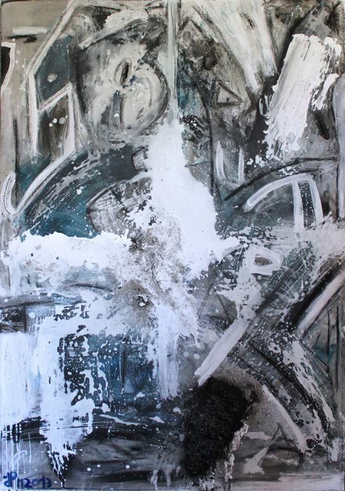 Jornada Gelada Dimensões: 100x70cm Técnica: Acrílico, òleo, Tinta plástica, spray esmalte, carvão e pastel