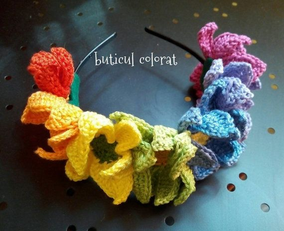 Check out this item in my Etsy shop https://www.etsy.com/listing/462841917/rainbow-flowers-crown-crochet-flower