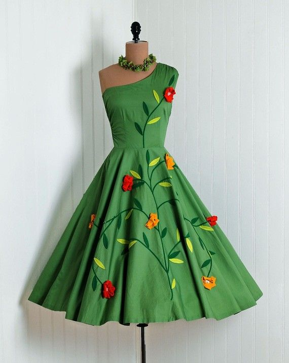 1950's Vintage Olive-Green Scenic Floral-Garden Botanical Cotton-Couture Asymmetric One-Shoulder Sleeveless Ruched-Waist Rockabilly Ballerina-Cupcake Princess Full Swing Circle-Skirt Femme-Fatale Bombshell Beach Wedding Cocktail Party Sun Dress