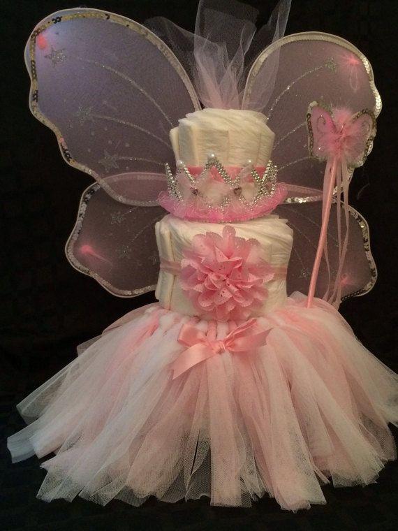 Diaper Cake for Girls  Princess Fairy Tutu by DarlinDelights #babygirl #diapercake #centerpiece