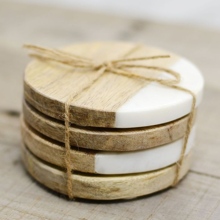 Set of Four Marble and Wood Coasters                                                                                                                                                                                 More
