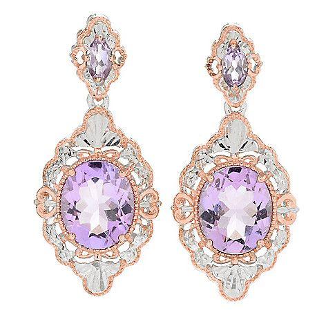 """161-237 - Gems en Vogue 1.25"""" 6.82ctw Pink Amethyst Diamond Cut Drop Earrings"""