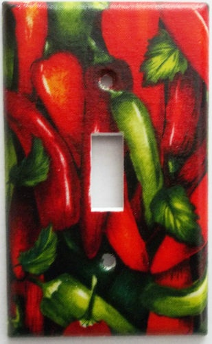 Lovely Chili Pepper Red Green Kitchen Wall Decor Light Switch Outlet Plate.  Different Plate Styles Available