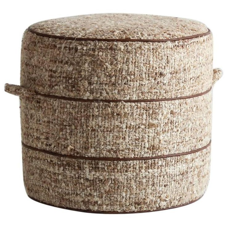 Nickey Kehoe Collection Small Round Hassock Upholstered in Boucle Fabric 1