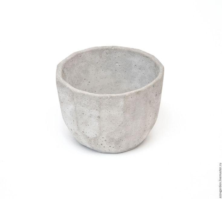 Купить Горшок бетонный многогранник для цветов серый - серый, горшок для цветов, из бетона, кашпо для цветов