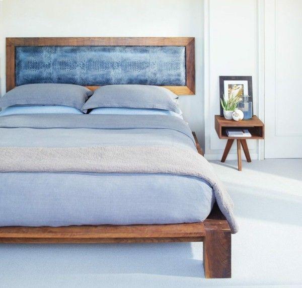bett kopfteil schickes design rahmen weißer boden Schlafzimmer