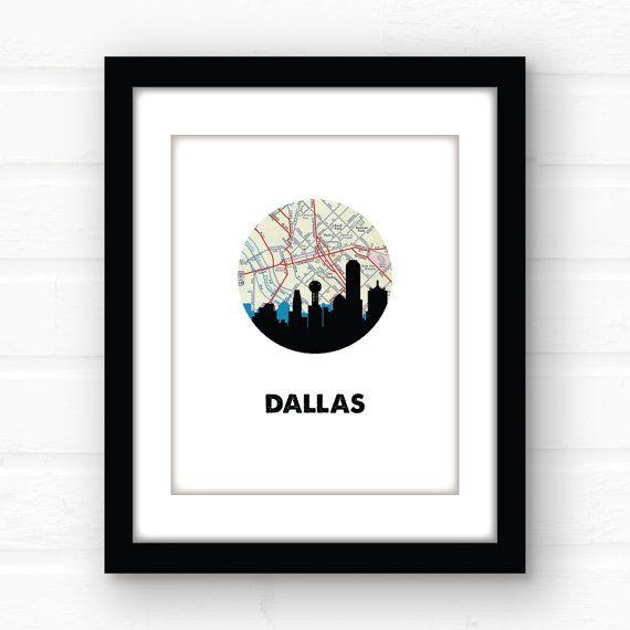 Dallas skyline print  Dallas Texas decor  by PaperFinchDesign